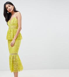 Платье-футляр с оборкой на подоле ASOS DESIGN Tall - Желтый