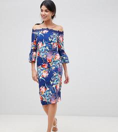 Платье с широким вырезом, цветочным принтом и кружевной отделкой Paper Dolls Tall - Мульти