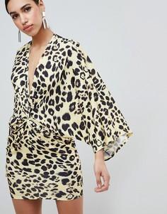 Платье мини с леопардовым принтом Flounce London - Мульти