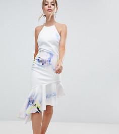 Платье миди с абстрактным принтом, американской проймой и баской ASOS DESIGN Petite - Мульти