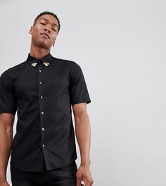 Рубашка с короткими рукавами и уголками на воротнике Reclaimed Vintage Inspired - Черный