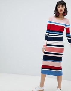 Платье миди в полоску Esprit - Мульти