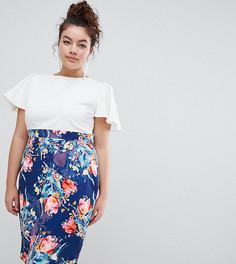 Платье-футляр миди 2 в 1 с принтом на юбке Paper Dolls Plus - Мульти