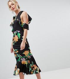 Платье миди с цветочным принтом, открытыми плечами и баской ASOS DESIGN Tall - Мульти