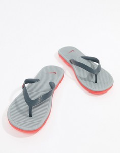 Серые шлепанцы Nike Solarsoft II 488160-069 - Темно-синий