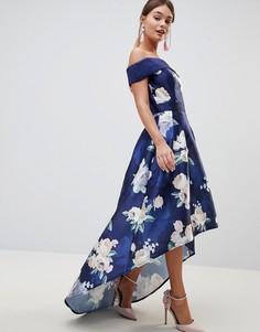 Атласное платье миди с цветочным принтом и асимметричным краем Chi Chi London - Темно-синий