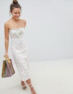 Платье-бандо миди в горошек с бантом спереди ASOS DESIGN - Мульти