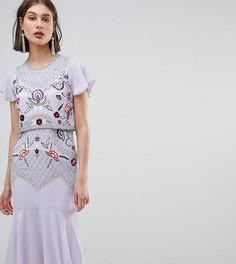 Платье миди со сплошной вышивкой с бисером Frock And Frill - Фиолетовый