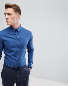 Синяя узкая строгая рубашка с длинными рукавами Celio - Синий