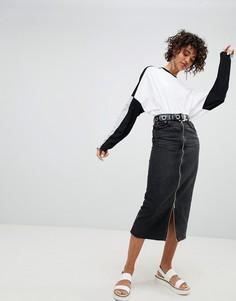 Джинсовая юбка с молнией Cheap Monday - Черный