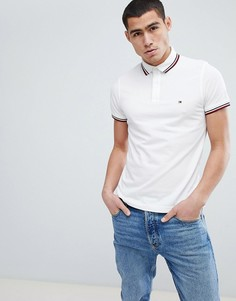 Белая облегающая футболка-поло с окантовкой и логотипом Tommy Hilfiger - Белый