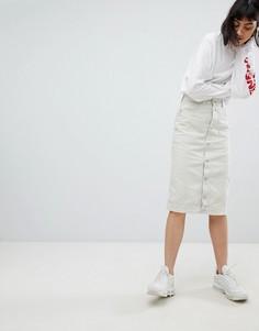 Облегающая юбка с пуговицами Weekday - Кремовый