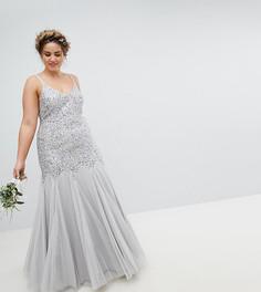Платье макси с пайетками Maya Plus - Серый