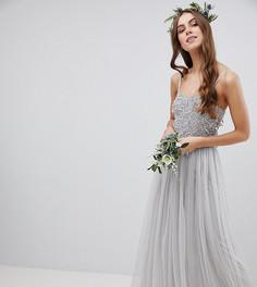 Платье макси с пайетками на лифе Maya Tall - Серый