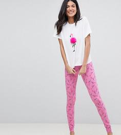 Пижамный комплект с принтом фламинго и помпонами ASOS DESIGN Tall - Мульти