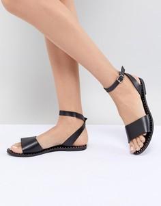 Черные кожаные сандалии Steve Madden Danny - Черный