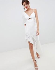 Кружевное платье миди с вышивкой ASOS DESIGN - Белый