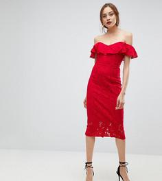Кружевное платье-футляр с оборками Little Mistress Tall - Красный