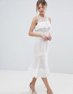 Платье миди с кружевной отделкой Coast Sarry Maselle - Белый