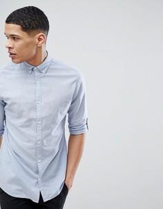 Узкая рубашка с добавлением льна Jack & Jones Premium - Синий