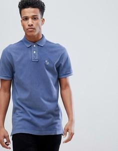 Синяя футболка-поло с логотипом Abercrombie & Fitch - Синий