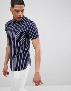 Темно-синяя узкая рубашка в полоску Religion - Темно-синий