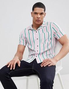 Узкая рубашка в полоску с отложным воротником Religion - Розовый