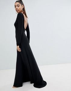 Платье макси с открытой спиной и разрезом Fashionkilla - Черный
