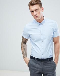 Голубая облегающая оксфордская рубашка с короткими рукавами Moss London - Розовый