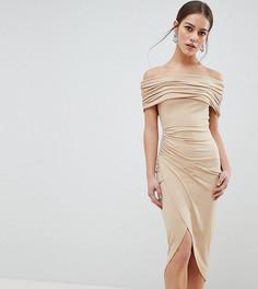 Платье миди с открытыми плечами ASOS DESIGN Petite - Бежевый