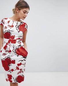 Платье с короткими рукавами и крупным цветочным принтом Closet London - Мульти