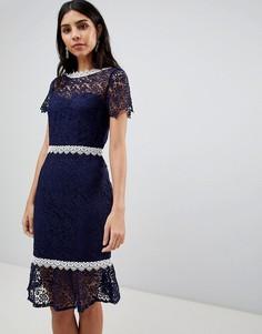Ажурное платье-футляр с короткими рукавами Paper Dolls - Темно-синий