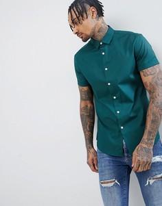 Приталенная зеленая рубашка с короткими рукавами ASOS DESIGN - Зеленый