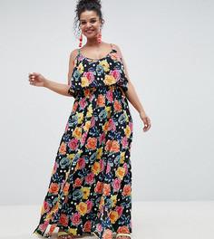Двухслойное платье макси в горошек с цветочным принтом и отделкой помпонами ASOS DESIGN Curve - Мульти