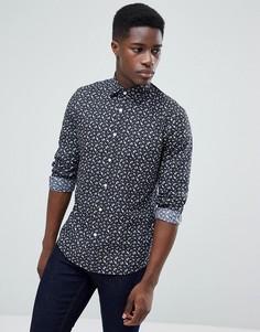 Узкая строгая рубашка с цветочным принтом Esprit - Серый
