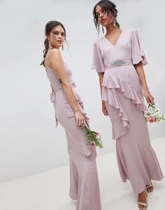 Платье макси с рукавами-бабочка и поясом с отделкой ASOS DESIGN - Розовый