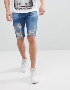 Синие облегающие джинсовые шорты с рваной отделкой Religion - Синий