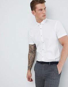Белая облегающая оксфордская рубашка с короткими рукавами Moss London - Розовый