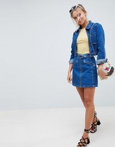 Комбинируемая джинсовая юбка с ковбойской пряжкой ASOS DESIGN - Синий