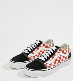 Кроссовки в шахматную клетку (черный/красный) Vans Old Skool - Красный
