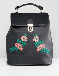 Рюкзак с цветочной вышивкой Liquorish - Черный