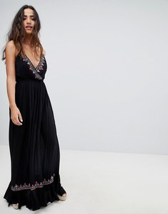 Платье макси с вышивкой Raga - Черный