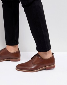 Светло-коричневые кожаные туфли на шнуровке с контрастной подошвой ASOS - Рыжий