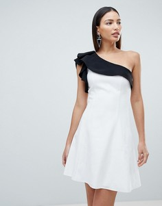 Платье мини на одно плечо Forever Unique - Белый