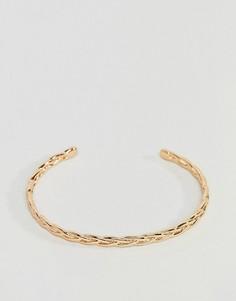 Плоский плетеный браслет-манжет ASOS - Золотой