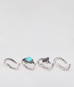 4 кольца с искусственной бирюзой ASOS DESIGN - Серебряный