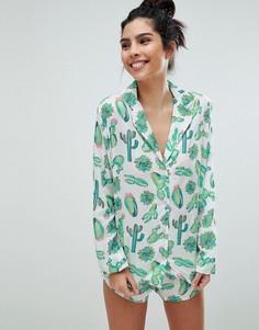 Традиционная пижама с рубашкой и шортами из 100% вискозы ASOS DESIGN - Мульти