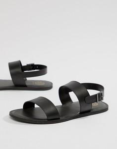 Черные кожаные сандалии с двумя ремешками KG By Kurt Geiger - Черный