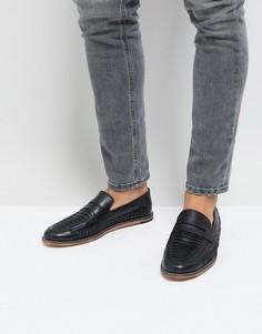 Черные кожаные плетеные лоферы Silver Street - Черный