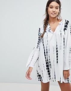 Пляжное платье с длинными рукавами и принтом тай-дай Influence - Кремовый